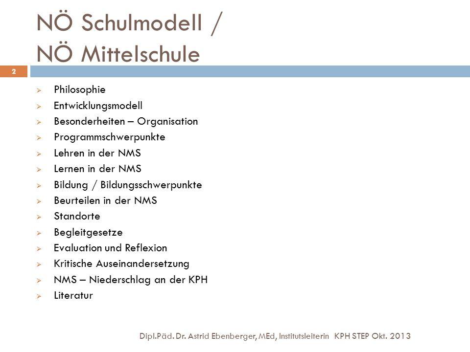 NÖ Schulmodell / NÖ Mittelschule Dipl.Päd. Dr. Astrid Ebenberger, MEd, Institutsleiterin KPH STEP Okt. 2013 2  Philosophie  Entwicklungsmodell  Bes