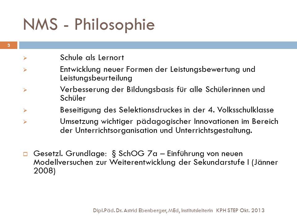 NMS - Philosophie Dipl.Päd. Dr. Astrid Ebenberger, MEd, Institutsleiterin KPH STEP Okt. 2013 3  Schule als Lernort  Entwicklung neuer Formen der Lei
