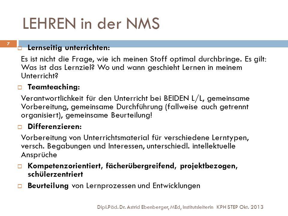 LEHREN in der NMS Dipl.Päd. Dr. Astrid Ebenberger, MEd, Institutsleiterin KPH STEP Okt. 2013 7  Lernseitig unterrichten: Es ist nicht die Frage, wie