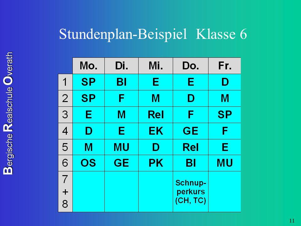 B ergische R ealschule O verath 11 Stundenplan-Beispiel Klasse 6