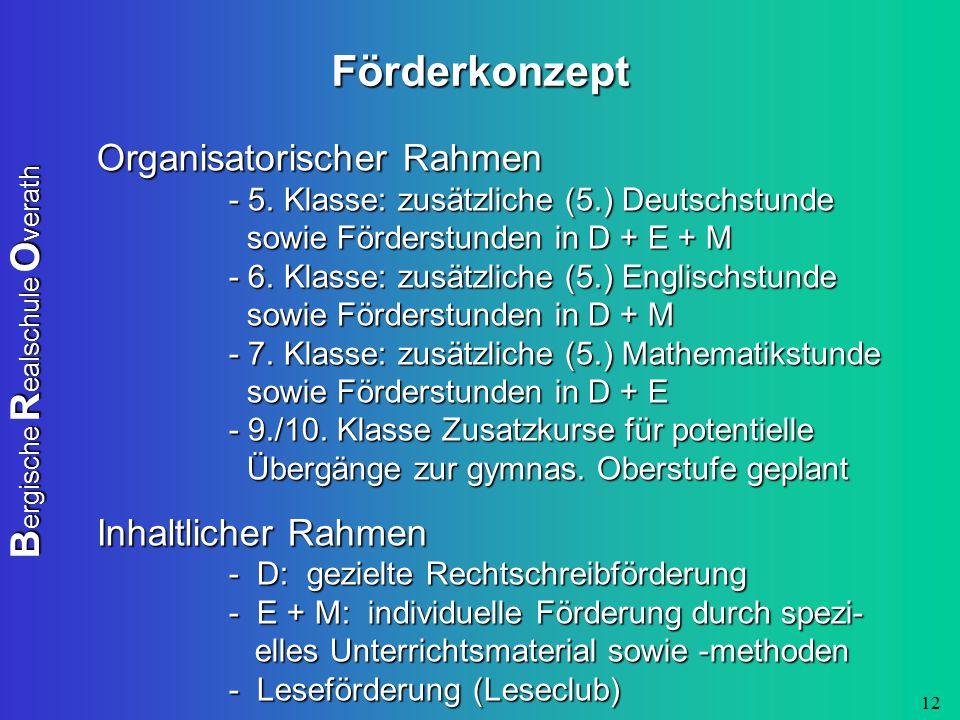 B ergische R ealschule O verath 12 Förderkonzept Organisatorischer Rahmen - 5. Klasse: zusätzliche (5.) Deutschstunde sowie Förderstunden in D + E + M