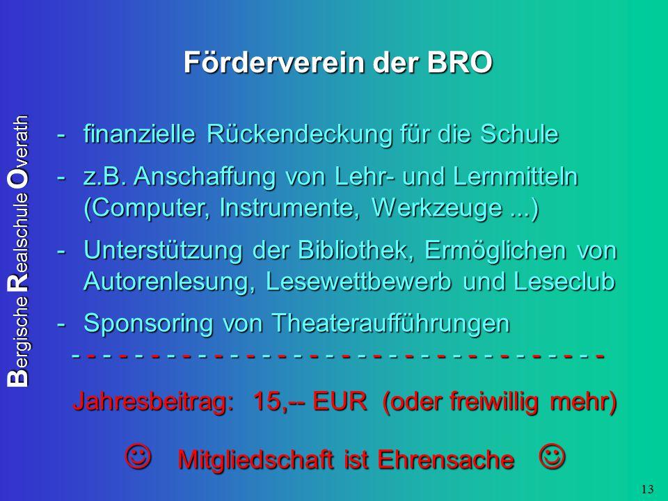 B ergische R ealschule O verath 13 Förderverein der BRO -finanzielle Rückendeckung für die Schule -z.B. Anschaffung von Lehr- und Lernmitteln (Compute