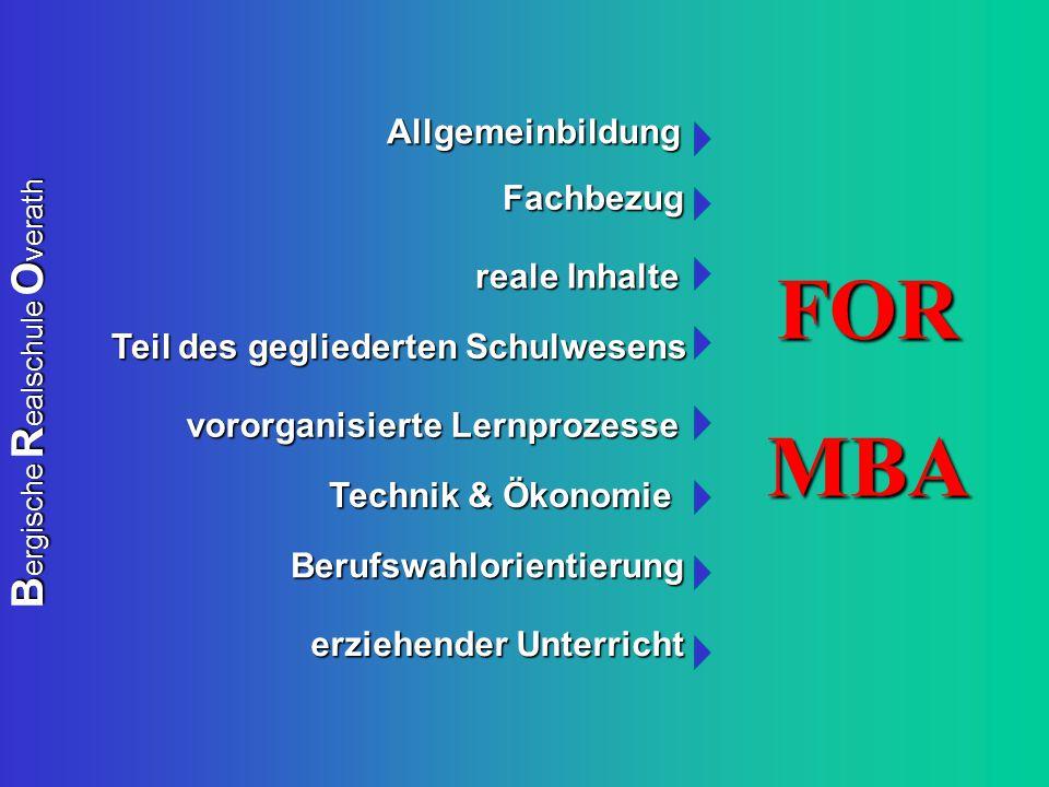 B ergische R ealschule O verath Teil des gegliederten Schulwesens Teil des gegliederten Schulwesens Technik & Ökonomie Technik & Ökonomie Berufswahlor