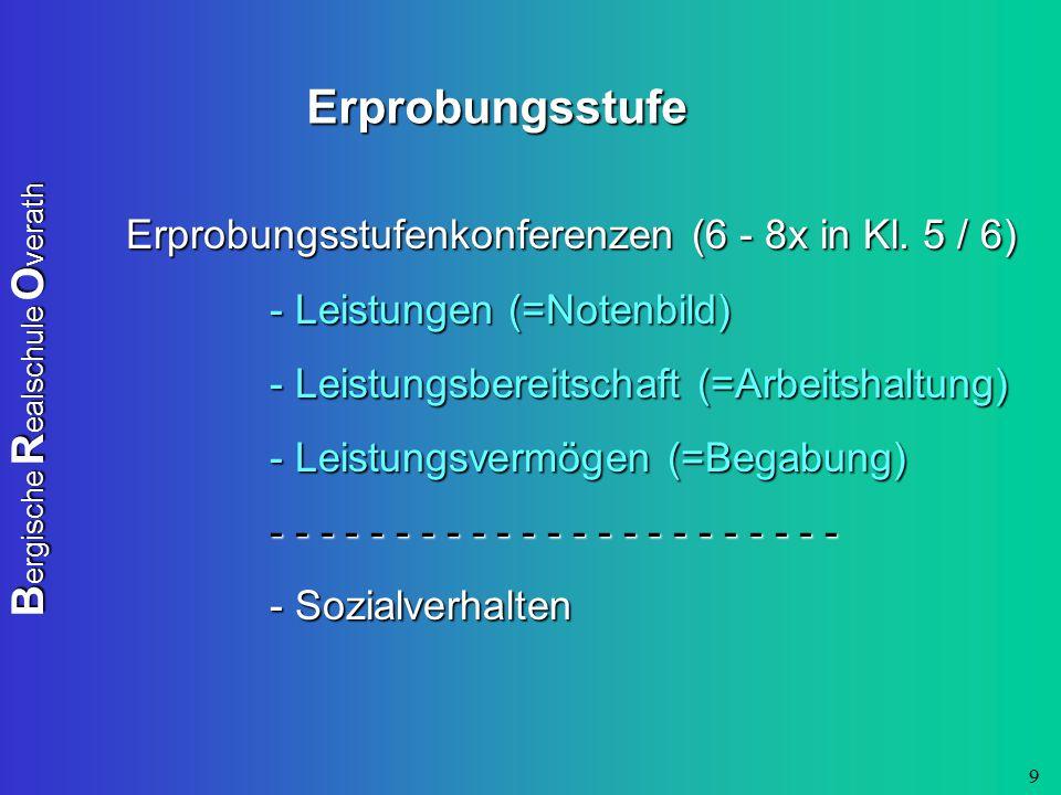 B ergische R ealschule O verath 9 Erprobungsstufe Erprobungsstufenkonferenzen (6 - 8x in Kl. 5 / 6) - Leistungen (=Notenbild) - Leistungsbereitschaft