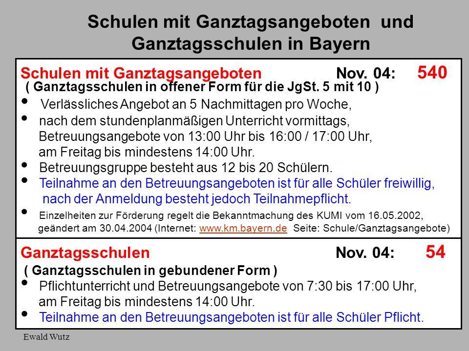 Ewald Wutz Schulen mit Ganztagsangeboten und Ganztagsschulen in Bayern Schulen mit Ganztagsangeboten Nov. 04: 540 ( Ganztagsschulen in offener Form fü