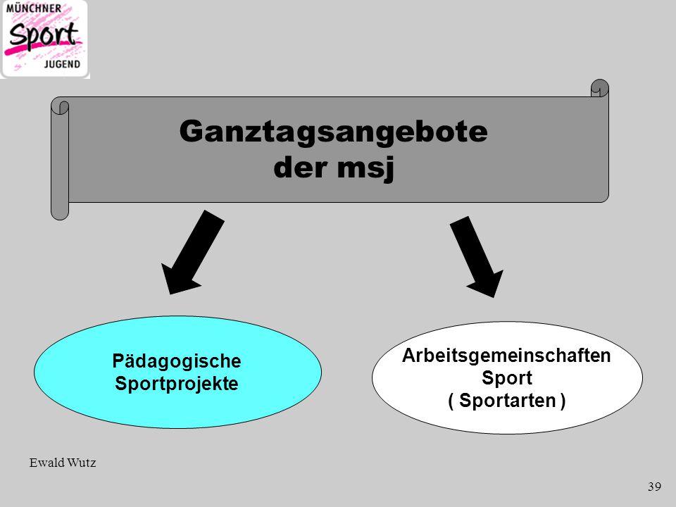 Ganztagsangebote der msj Pädagogische Sportprojekte Arbeitsgemeinschaften Sport ( Sportarten ) Ewald Wutz 39