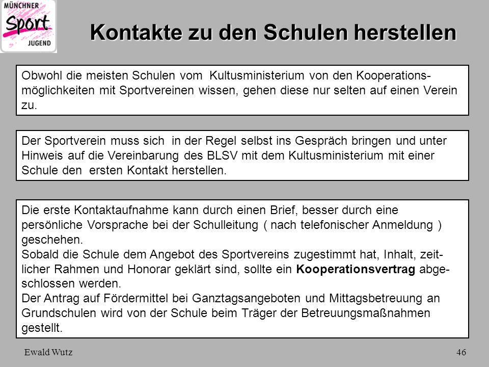 Ewald Wutz46 Kontakte zu den Schulen herstellen Obwohl die meisten Schulen vom Kultusministerium von den Kooperations- möglichkeiten mit Sportvereinen