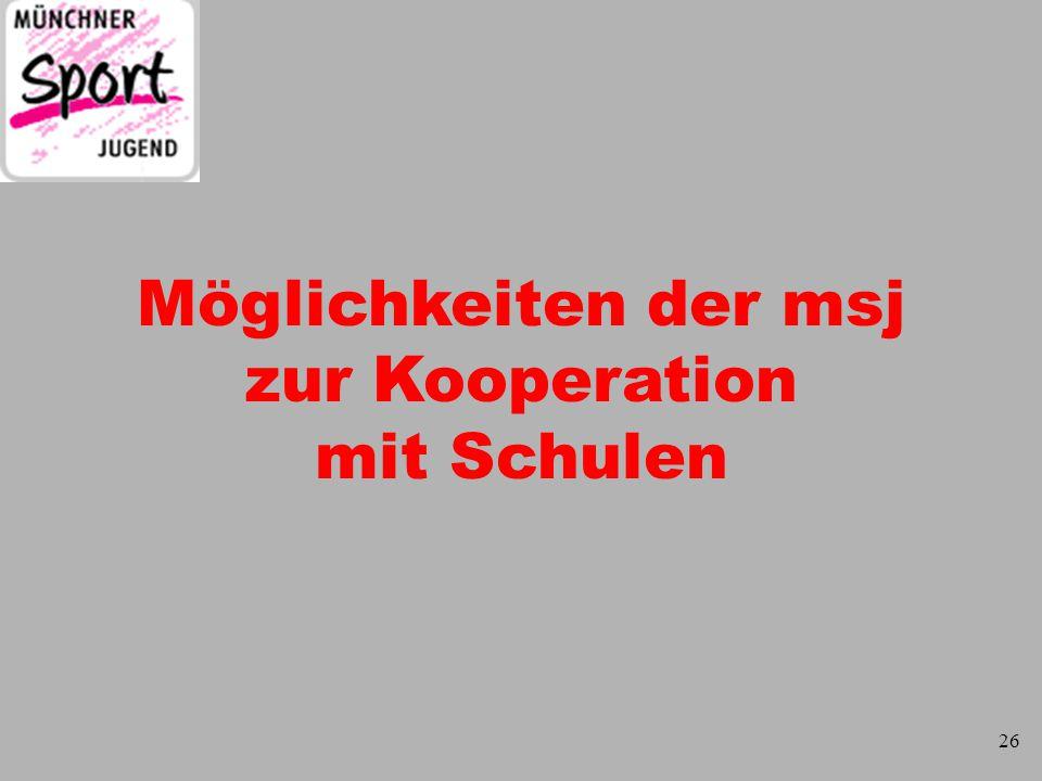 Ewald Wutz Möglichkeiten für eine msj - Kooperation DSU Differenzierter Sportunterricht Ganztagsangebote Mitwirkung bei Projekttagen Spiel- und Sportfesten Sport nach 1 Sportarbeitsgemeinschaften SAG's 27