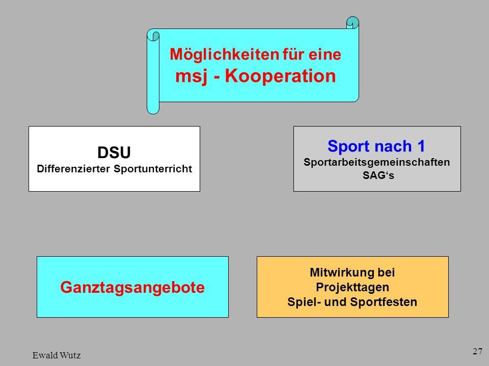 Ewald Wutz Möglichkeiten für eine msj - Kooperation DSU Differenzierter Sportunterricht Ganztagsangebote Mitwirkung bei Projekttagen Spiel- und Sportf