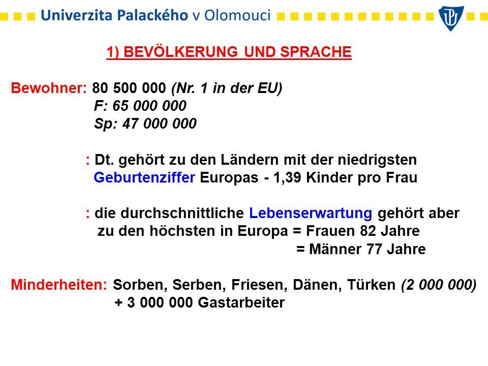 1) BEVÖLKERUNG UND SPRACHE Bewohner: 80 500 000 (Nr.
