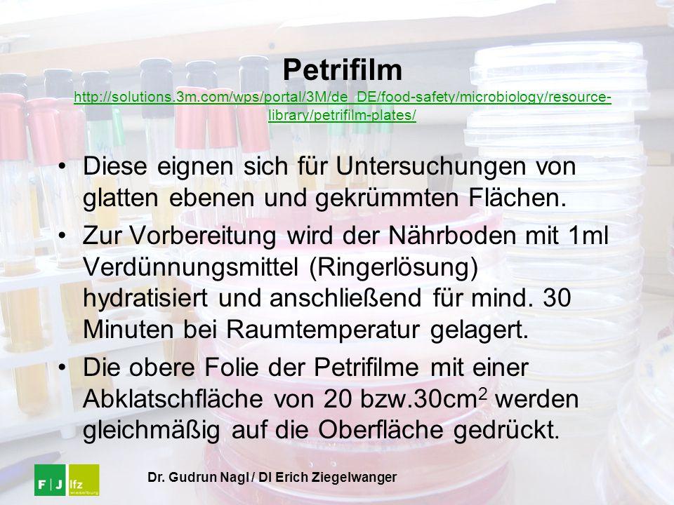 Dr. Gudrun Nagl / DI Erich Ziegelwanger Petrifilm http://solutions.3m.com/wps/portal/3M/de_DE/food-safety/microbiology/resource- library/petrifilm-pla