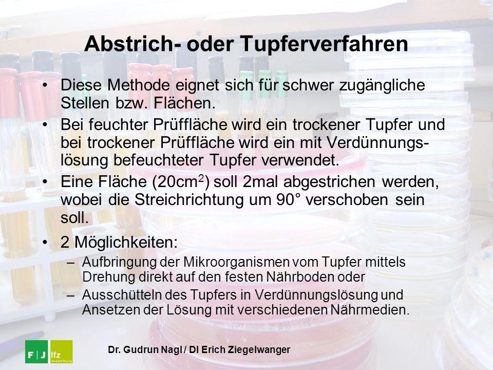 Dr. Gudrun Nagl / DI Erich Ziegelwanger Abstrich- oder Tupferverfahren Diese Methode eignet sich für schwer zugängliche Stellen bzw. Flächen. Bei feuc