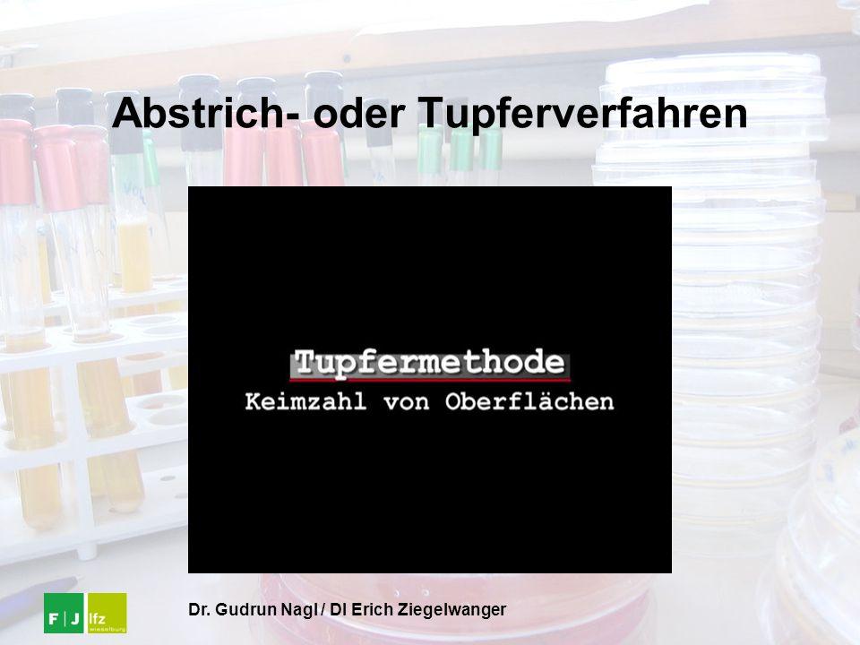 Dr. Gudrun Nagl / DI Erich Ziegelwanger Abstrich- oder Tupferverfahren