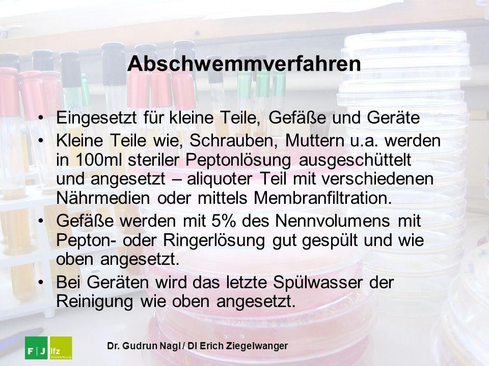 Dr. Gudrun Nagl / DI Erich Ziegelwanger Abschwemmverfahren Eingesetzt für kleine Teile, Gefäße und Geräte Kleine Teile wie, Schrauben, Muttern u.a. we