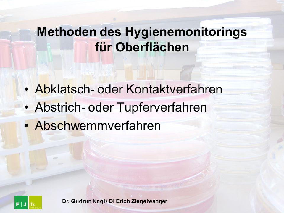 Dr. Gudrun Nagl / DI Erich Ziegelwanger Methoden des Hygienemonitorings für Oberflächen Abklatsch- oder Kontaktverfahren Abstrich- oder Tupferverfahre