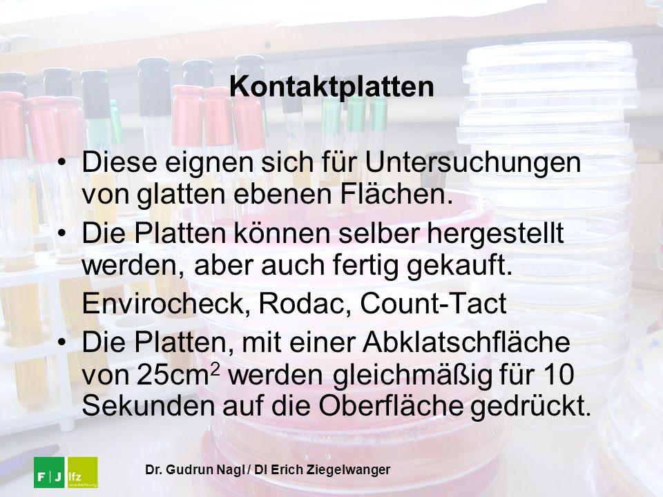 Dr. Gudrun Nagl / DI Erich Ziegelwanger Kontaktplatten Diese eignen sich für Untersuchungen von glatten ebenen Flächen. Die Platten können selber herg