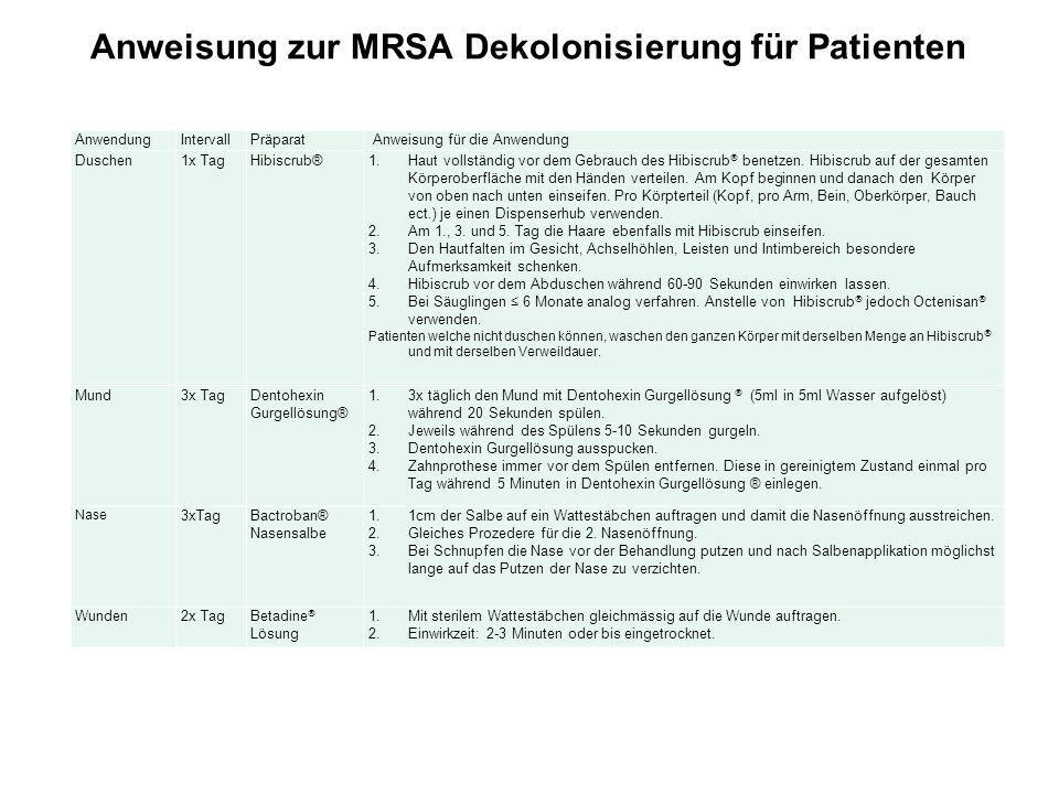 Anweisung zur MRSA Dekolonisierung für Patienten AnwendungIntervallPräparat Anweisung für die Anwendung Duschen 1x TagHibiscrub®1.Haut vollständig vor