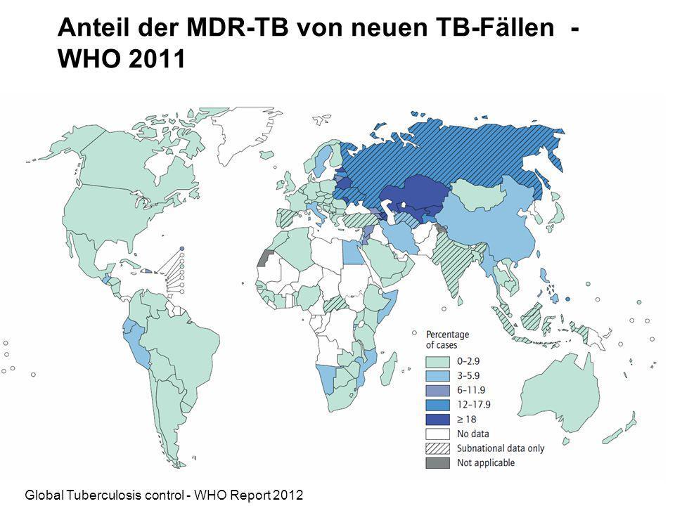Anteil der MDR-TB von neuen TB-Fällen - WHO 2011 Global Tuberculosis control - WHO Report 2012