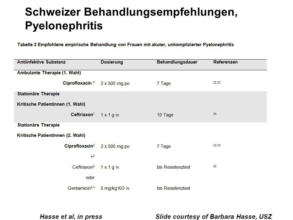 Schweizer Behandlungsempfehlungen, Pyelonephritis Hasse et al, in press Slide courtesy of Barbara Hasse, USZ