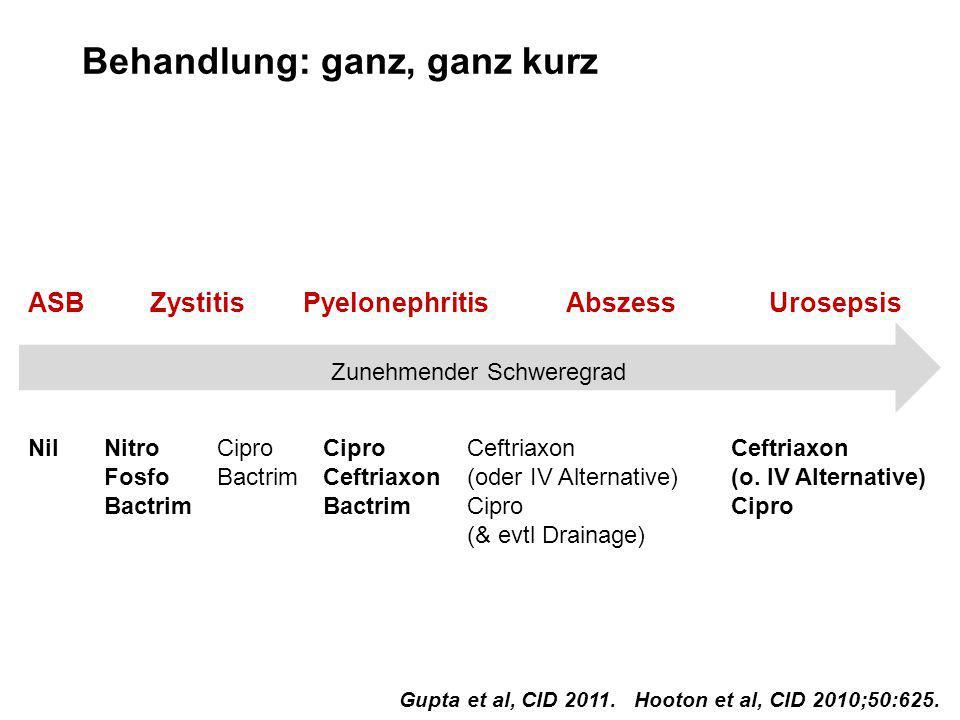 Behandlung: ganz, ganz kurz Zunehmender Schweregrad Nitro Fosfo Bactrim NilCipro Bactrim Cipro Ceftriaxon Bactrim Ceftriaxon (oder IV Alternative) Cip