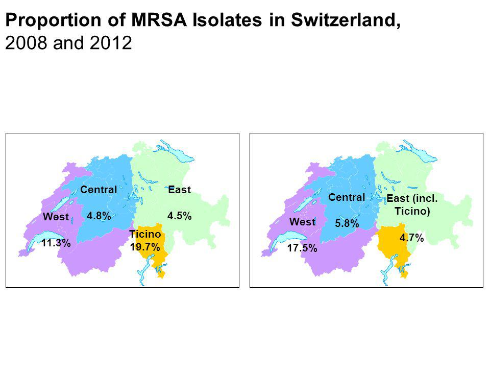 Proportion of MRSA Isolates in Switzerland, 2008 and 2012 West 17.5% Central 5.8% East (incl. Ticino) 4.7% West 11.3% Central 4.8% East 4.5% Ticino 19