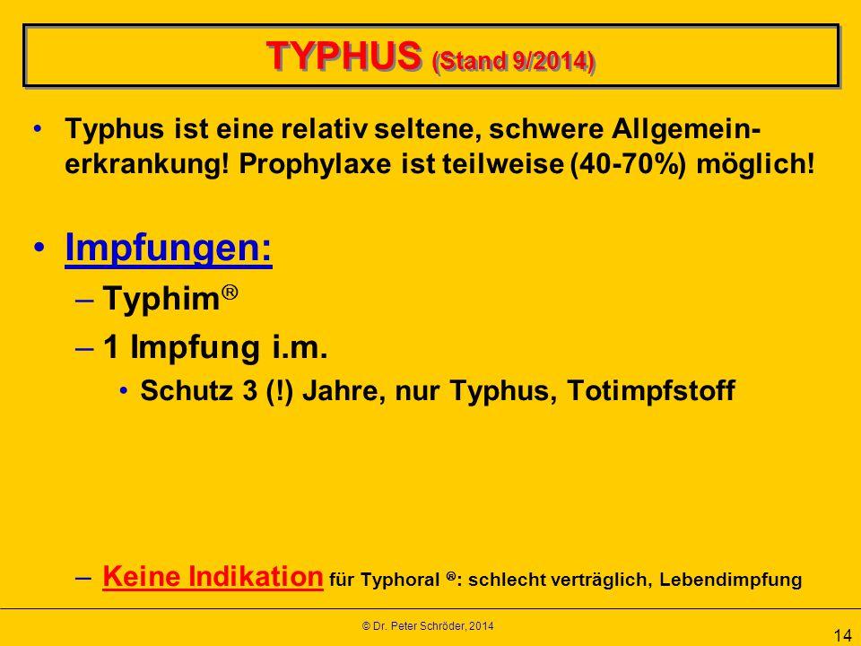 © Dr. Peter Schröder, 2014 14 TYPHUS (Stand 9/2014) Typhus ist eine relativ seltene, schwere Allgemein- erkrankung! Prophylaxe ist teilweise (40-70%)