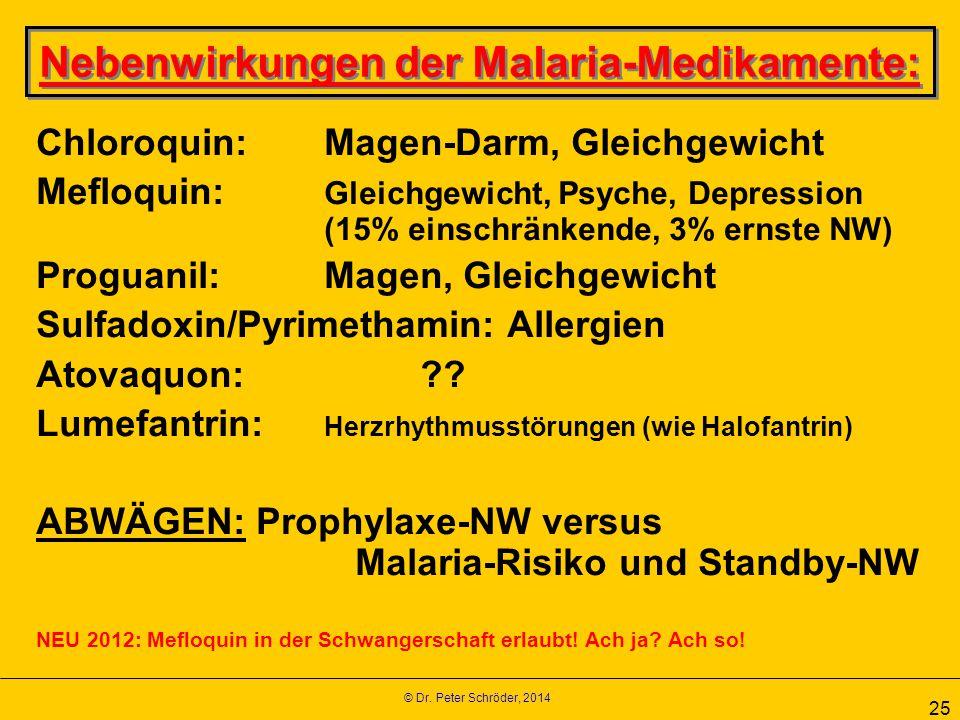 © Dr. Peter Schröder, 2014 25 Nebenwirkungen der Malaria-Medikamente: Chloroquin: Magen-Darm, Gleichgewicht Mefloquin: Gleichgewicht, Psyche, Depressi