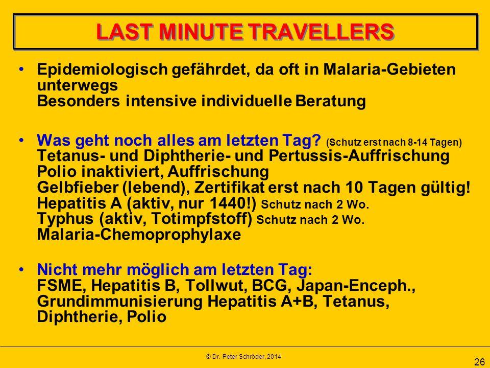 © Dr. Peter Schröder, 2014 26 LAST MINUTE TRAVELLERS Epidemiologisch gefährdet, da oft in Malaria-Gebieten unterwegs Besonders intensive individuelle