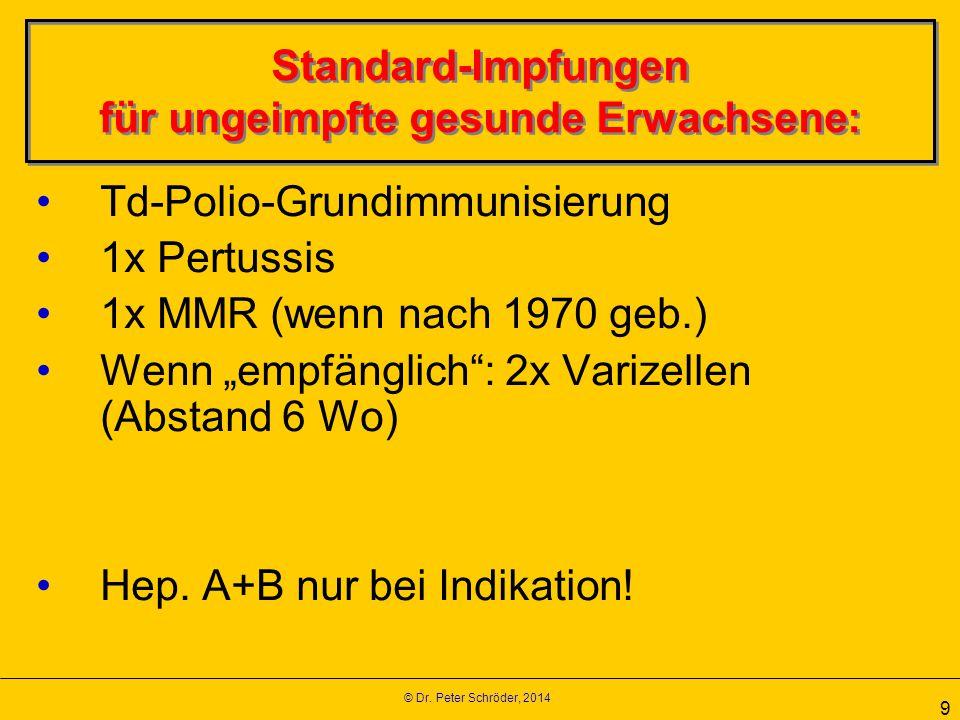 © Dr. Peter Schröder, 2014 9 Standard-Impfungen für ungeimpfte gesunde Erwachsene: Td-Polio-Grundimmunisierung 1x Pertussis 1x MMR (wenn nach 1970 geb