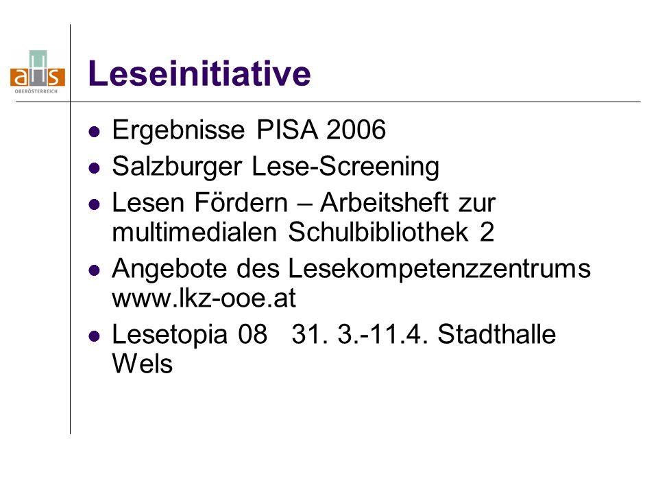 Leseinitiative Ergebnisse PISA 2006 Salzburger Lese-Screening Lesen Fördern – Arbeitsheft zur multimedialen Schulbibliothek 2 Angebote des Lesekompetenzzentrums www.lkz-ooe.at Lesetopia 08 31.