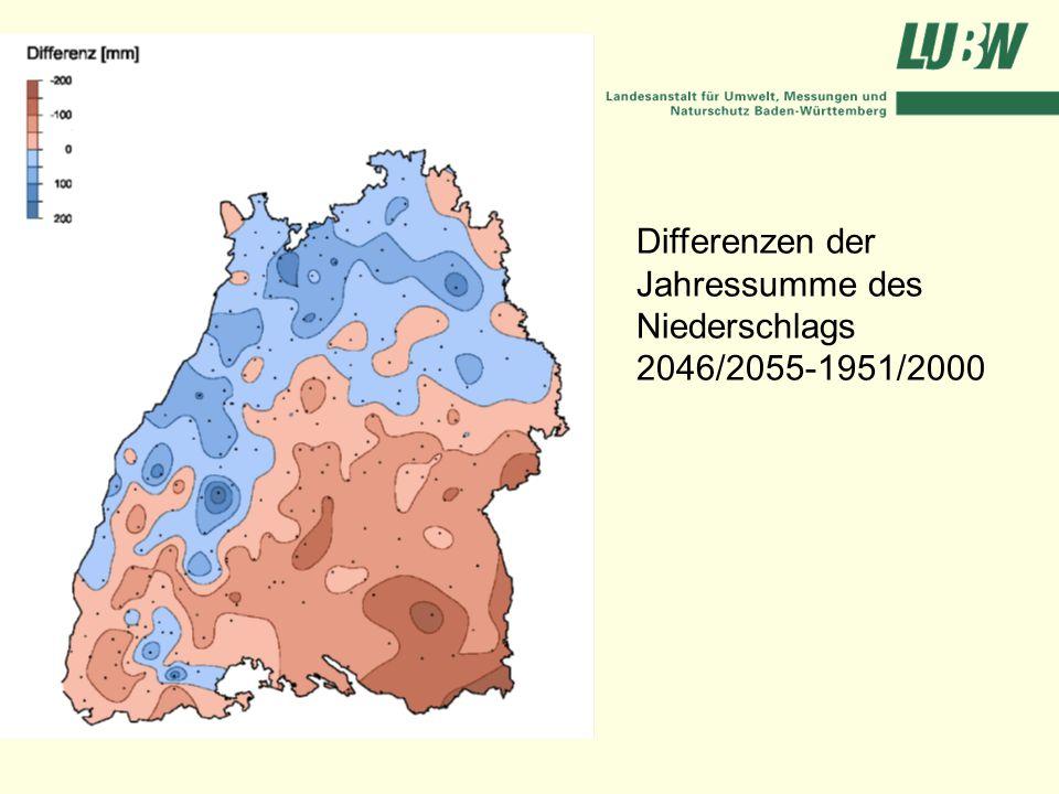 Differenzen der Jahressumme des Niederschlags 2046/2055-1951/2000