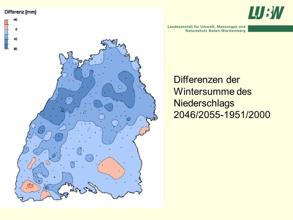 Differenzen der Wintersumme des Niederschlags 2046/2055-1951/2000