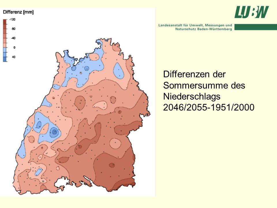 Differenzen der Sommersumme des Niederschlags 2046/2055-1951/2000