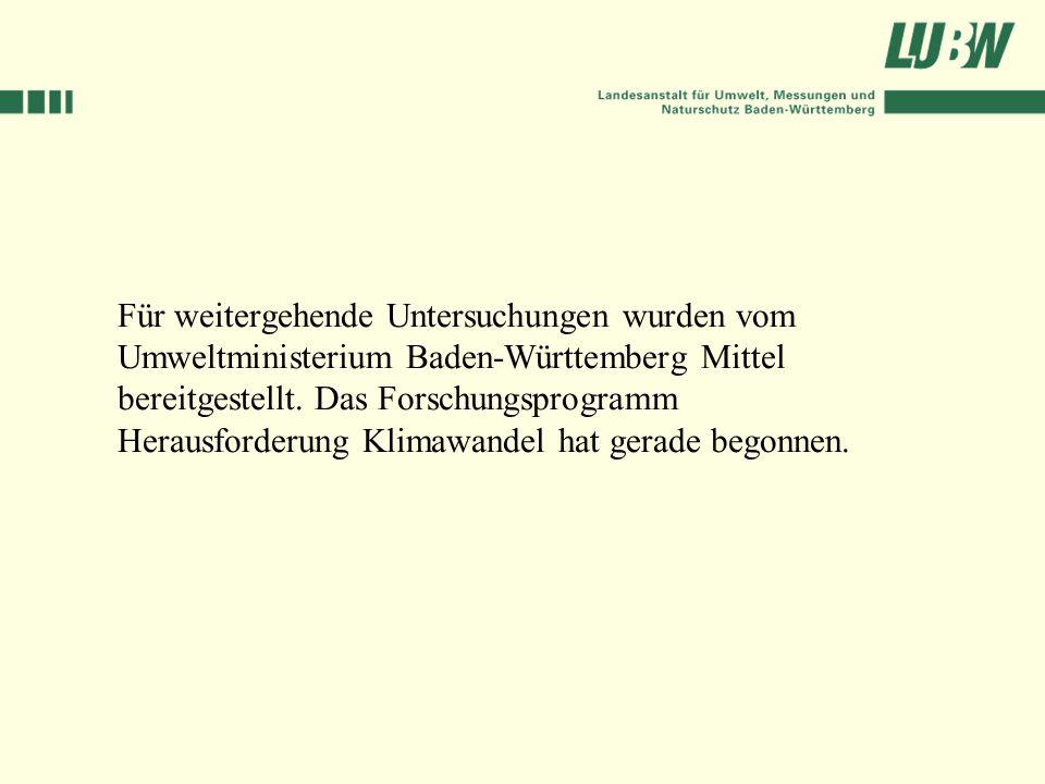Für weitergehende Untersuchungen wurden vom Umweltministerium Baden-Württemberg Mittel bereitgestellt.