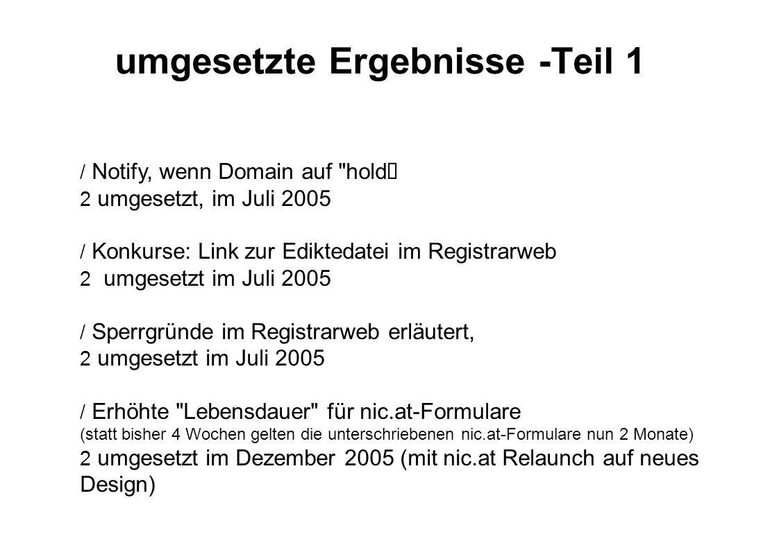 umgesetzte Ergebnisse -Teil 1  Notify, wenn Domain auf