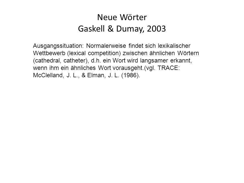 Neue Wörter Gaskell & Dumay, 2003 Ausgangssituation: Normalerweise findet sich lexikalischer Wettbewerb (lexical competition) zwischen ähnlichen Wörtern (cathedral, catheter), d.h.