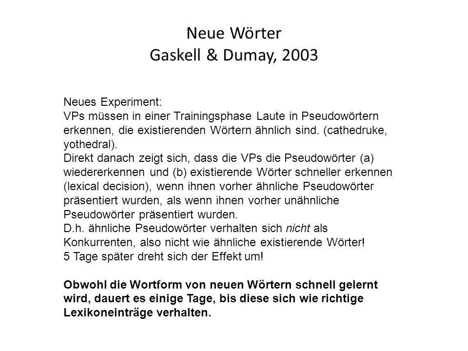Neue Wörter Gaskell & Dumay, 2003 Neues Experiment: VPs müssen in einer Trainingsphase Laute in Pseudowörtern erkennen, die existierenden Wörtern ähnlich sind.