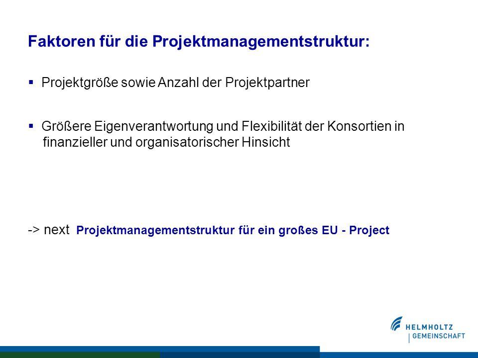 Faktoren für die Projektmanagementstruktur:  Projektgröße sowie Anzahl der Projektpartner  Größere Eigenverantwortung und Flexibilität der Konsortien in finanzieller und organisatorischer Hinsicht -> next Projektmanagementstruktur für ein großes EU - Project