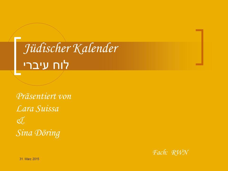 Inhaltsverzeichnis 1.Unterschiede Jüdischer und Allgemeiner / Christlicher Kalender 2.
