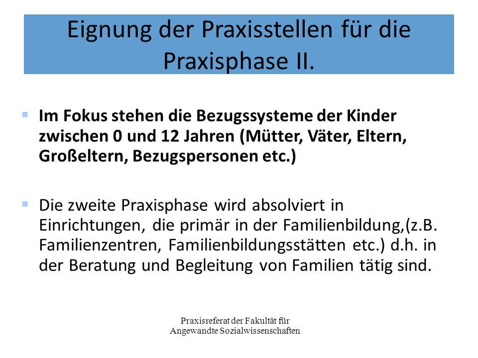Eignung der Praxisstellen für die Praxisphase II.