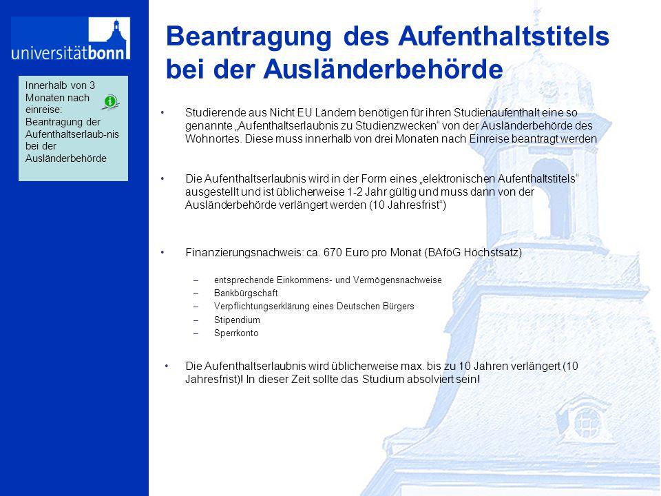 """Beantragung des Aufenthaltstitels bei der Ausländerbehörde Studierende aus Nicht EU Ländern benötigen für ihren Studienaufenthalt eine so genannte """"Au"""