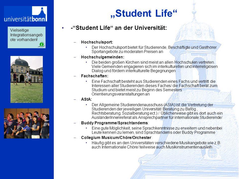 """""""Student Life"""" -""""Student Life"""" an der Universität: –Hochschulsport: Der Hochschulsport bietet für Studierende, Beschäftigte und Gasthörer Sportangebot"""