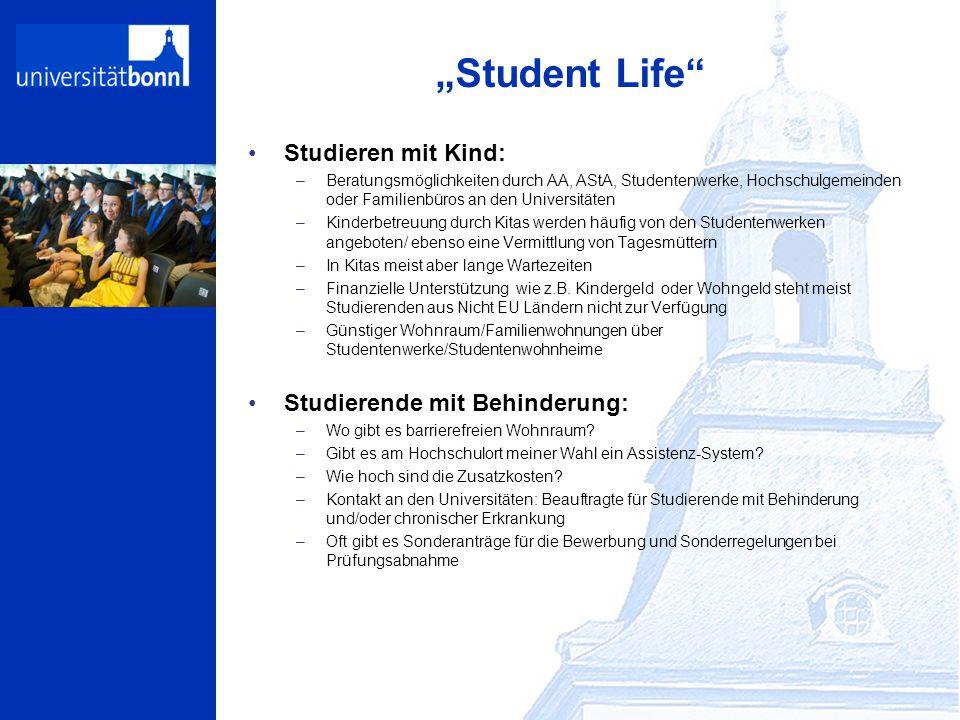 """""""Student Life"""" Studieren mit Kind: –Beratungsmöglichkeiten durch AA, AStA, Studentenwerke, Hochschulgemeinden oder Familienbüros an den Universitäten"""