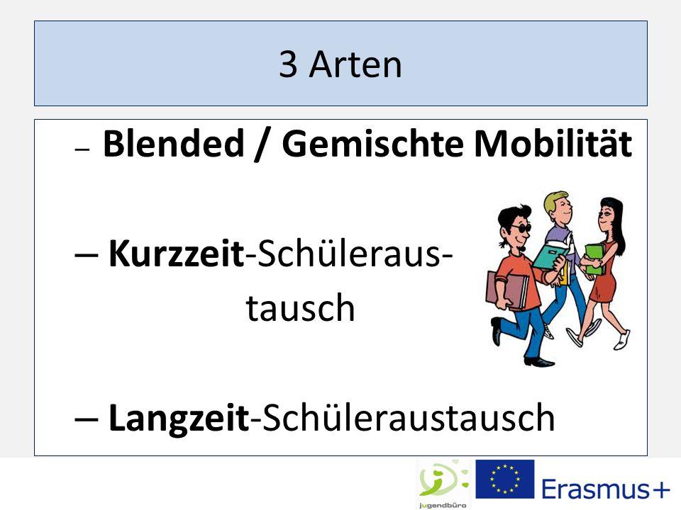 3 Arten – Blended / Gemischte Mobilität – Kurzzeit-Schüleraus- tausch – Langzeit-Schüleraustausch