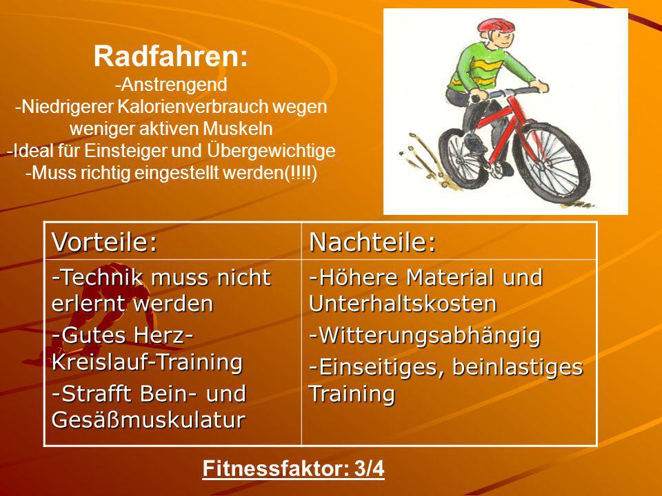 Radfahren: -Anstrengend -Niedrigerer Kalorienverbrauch wegen weniger aktiven Muskeln -Ideal für Einsteiger und Übergewichtige -Muss richtig eingestell