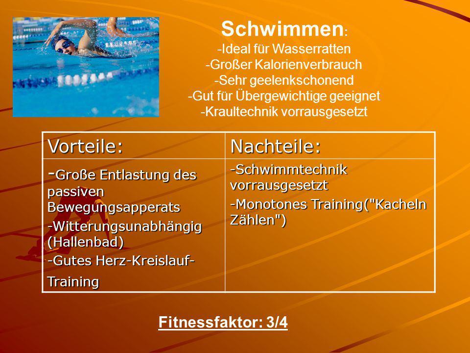 Schwimmen : -Ideal für Wasserratten -Großer Kalorienverbrauch -Sehr geelenkschonend -Gut für Übergewichtige geeignet -Kraultechnik vorrausgesetzt Vort