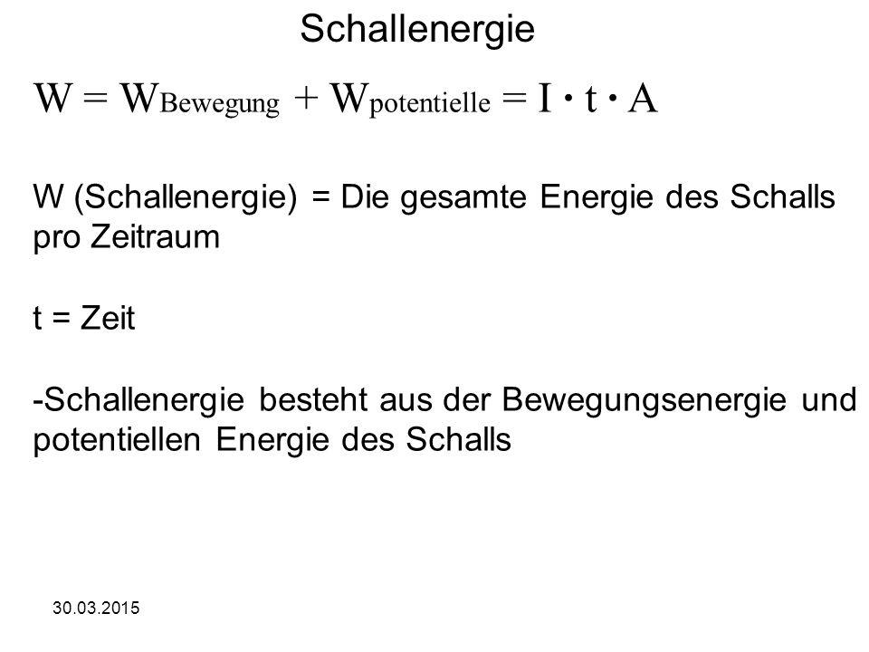 30.03.2015 Schallenergie W = W Bewegung + W potentielle = I · t · A W (Schallenergie) = Die gesamte Energie des Schalls pro Zeitraum t = Zeit -Schallenergie besteht aus der Bewegungsenergie und potentiellen Energie des Schalls