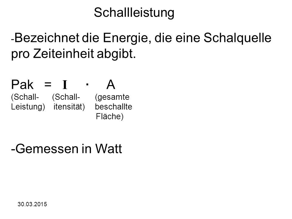 30.03.2015 Schallleistung - Bezeichnet die Energie, die eine Schalquelle pro Zeiteinheit abgibt. Pak = I · A (Schall- (Schall- (gesamte Leistung) iten
