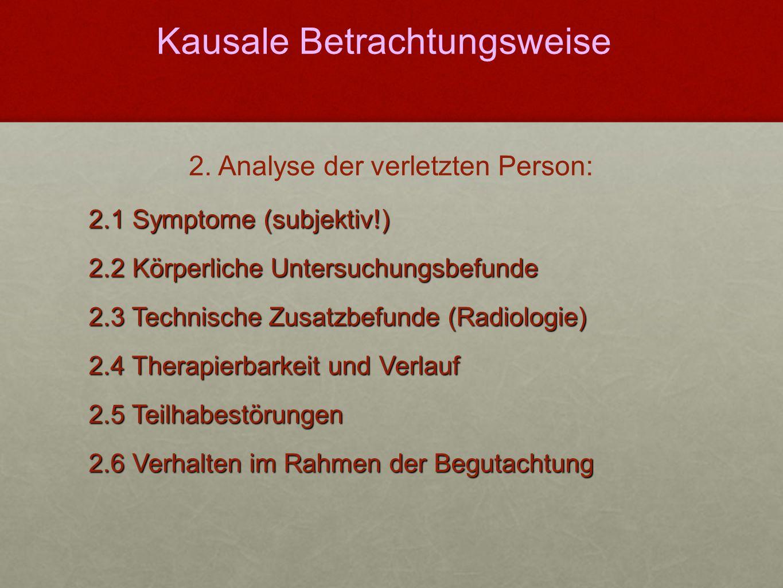 2.1 Symptome (subjektiv!) 2.2 Körperliche Untersuchungsbefunde 2.3 Technische Zusatzbefunde (Radiologie) 2.4 Therapierbarkeit und Verlauf 2.5 Teilhabe
