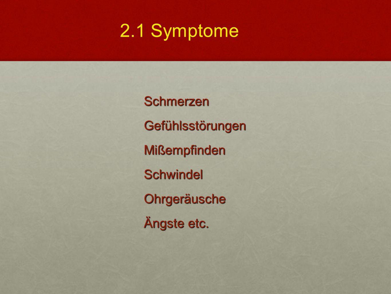 SchmerzenGefühlsstörungenMißempfindenSchwindelOhrgeräusche Ängste etc. 2.1 Symptome